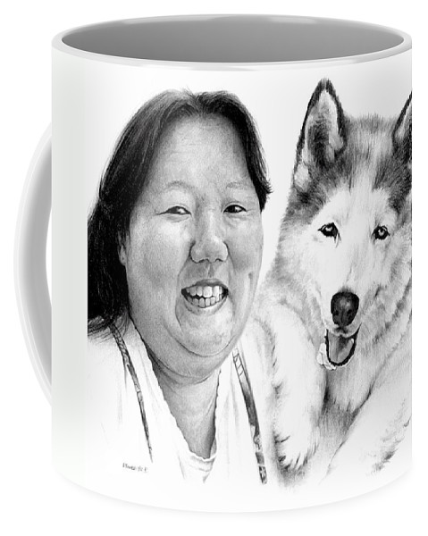 Portrait Coffee Mug featuring the drawing Angel On My Shoulder by Rachel Christine Nowicki