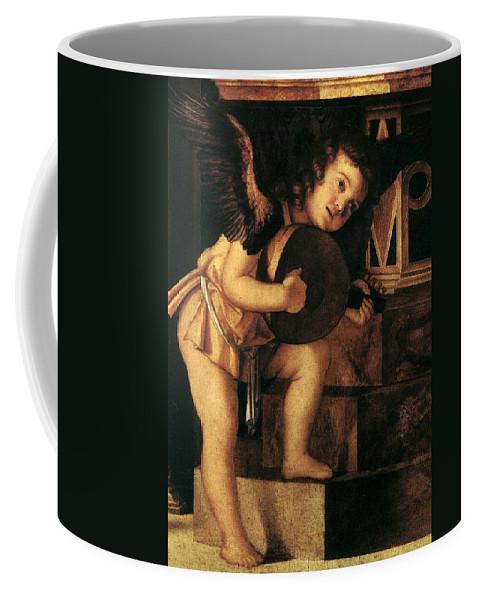 Angel Coffee Mug featuring the painting Angel Playing Music by Munir Alawi