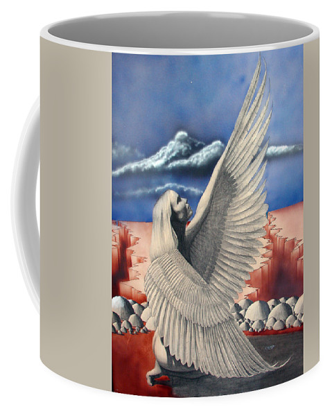 Shaun Coffee Mug featuring the painting Angel by Shaun McNicholas