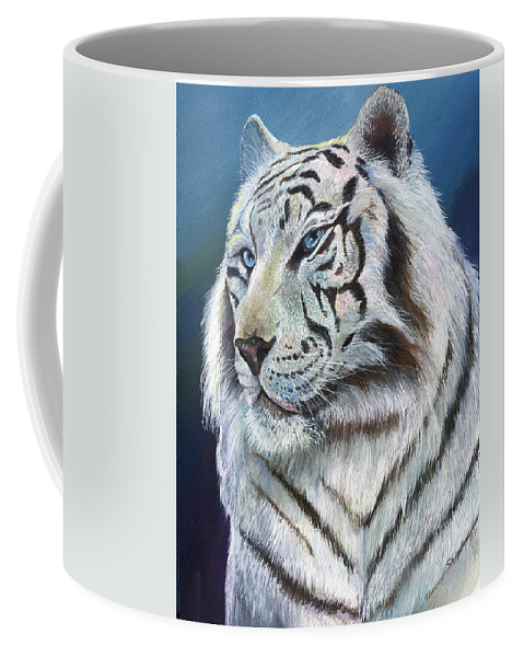 Big Cat Coffee Mug featuring the painting Angel The White Tiger by Sherry Shipley