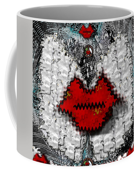 Angel Coffee Mug featuring the mixed media Angel Wings Brings Love And Peace by Pepita Selles