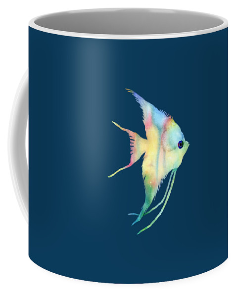 Fish Coffee Mug featuring the painting Angelfish I - Solid Background by Hailey E Herrera