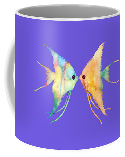 Fish Coffee Mug featuring the painting Angelfish Kissing by Hailey E Herrera
