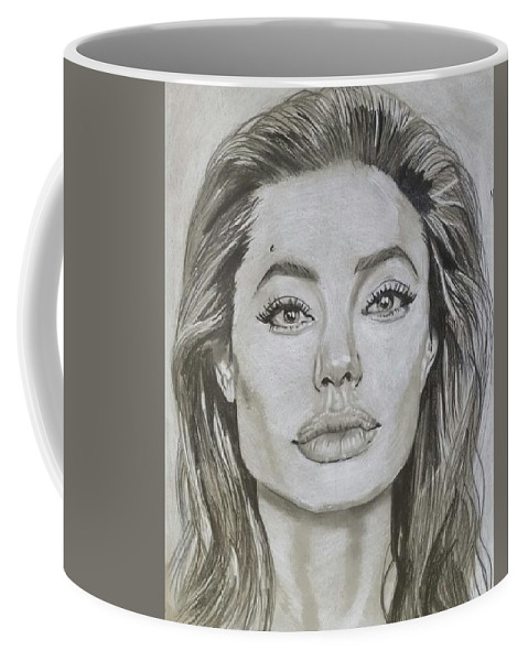 Angelina Coffee Mug featuring the drawing Angelina by Daniel Murrell