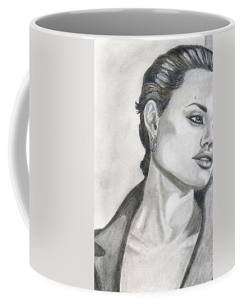 Pencil Coffee Mug featuring the drawing Angelina Jolie by Alban Dizdari
