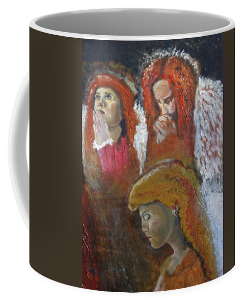 Angels Coffee Mug featuring the painting Angels by J Bauer