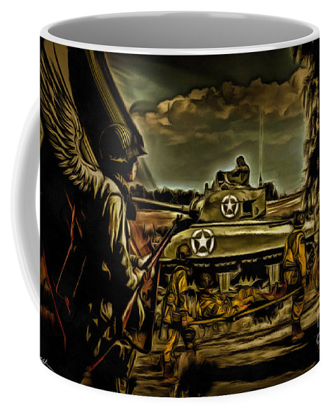 Soldier Coffee Mug featuring the digital art Angels On The Battlefield - Oil by Tommy Anderson