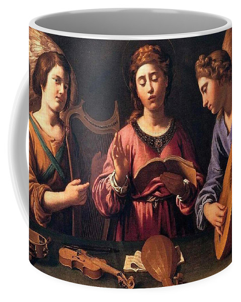 Christmas Coffee Mug featuring the painting Angels Singing by Munir Alawi