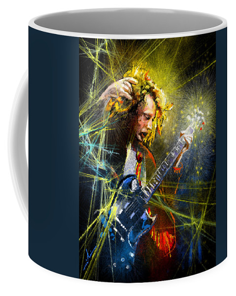 Music Coffee Mug featuring the painting Angus Young by Miki De Goodaboom