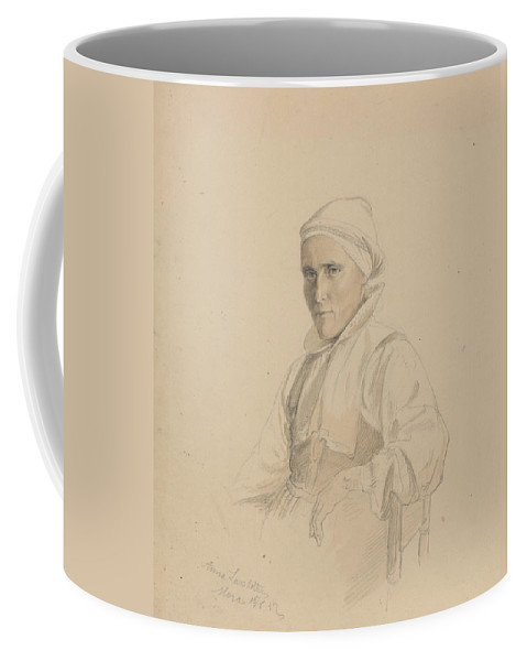 Norwegian Art Coffee Mug featuring the drawing Anna Larsdatter, Mora by Adolph Tidemand