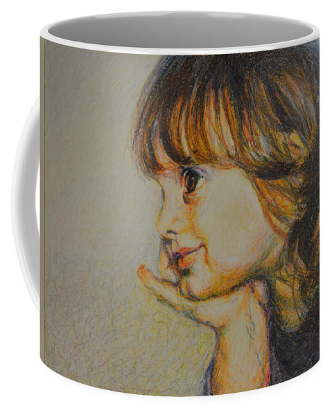 Modern Outsider Folk Abstract Portrait Figure Girl Child Profile Brown Tan Peach Dark Coffee Mug featuring the painting Anna Pensive I by Nancy Mauerman