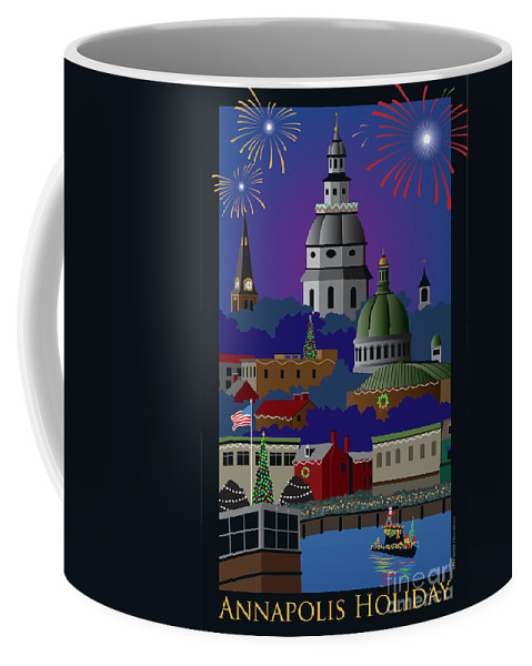 Holiday Coffee Mug featuring the digital art Annapolis Holiday With Title by Joe Barsin