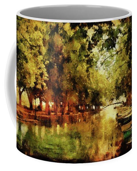 Annecy Coffee Mug featuring the digital art Annecy France Pont Des Amours by Ann Garrett