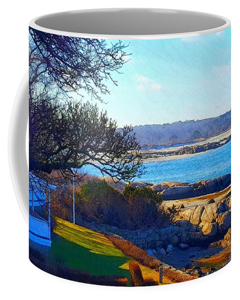 Light Blue Sky Coffee Mug featuring the photograph Annisquam Winter Sun by Harriet Harding