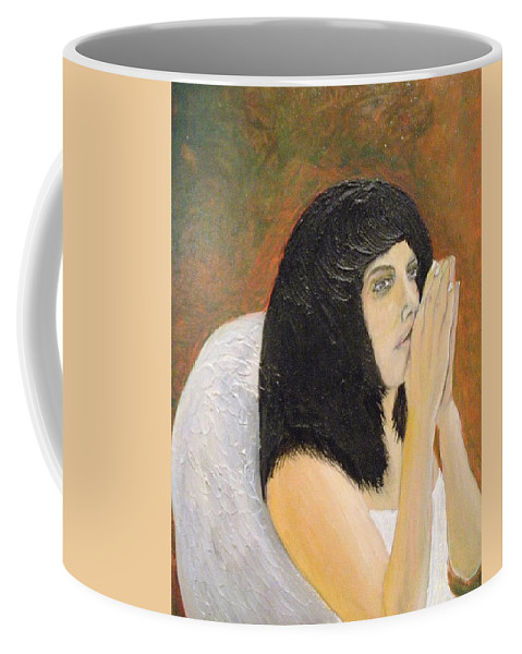She Prays For All Mankind Coffee Mug featuring the painting Annolita Praying by J Bauer