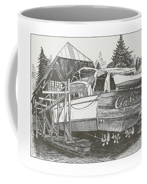 Nautical Yacht Portraits Coffee Mug featuring the drawing Annual Haul Out Chris Craft Yacht by Jack Pumphrey