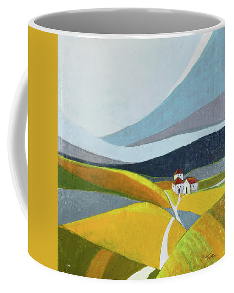 Landscape Coffee Mug featuring the painting Another Day On The Farm by Aniko Hencz