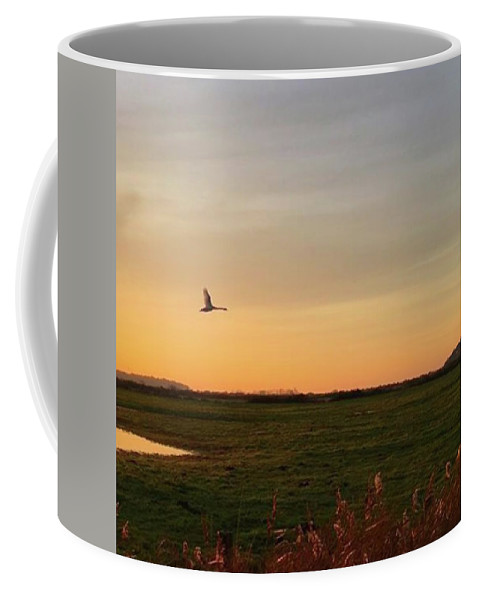 Natureonly Coffee Mug featuring the photograph Another Iphone Shot Of The Swan Flying by John Edwards