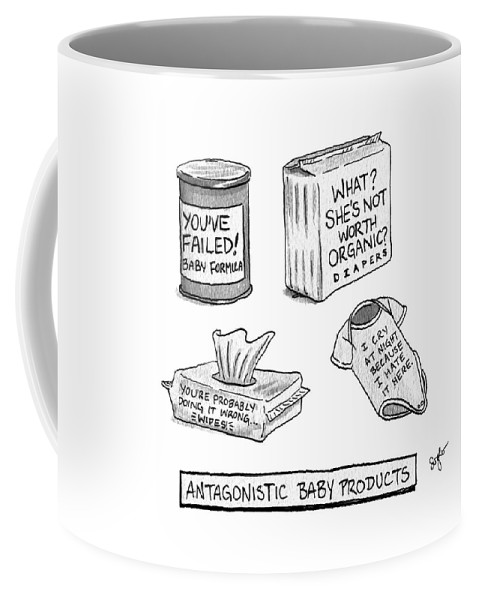 Antagonistic Baby Products Coffee Mug featuring the drawing Antagonistic Baby Products by Sophia Wiedeman