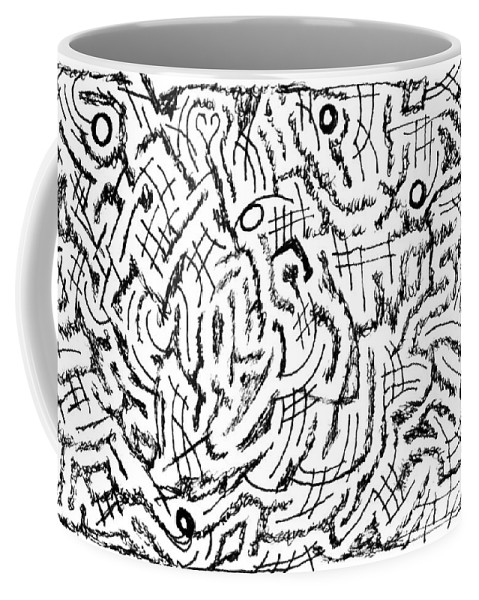 Mazes Coffee Mug featuring the drawing Anticipative by Steven Natanson
