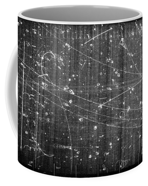 Science Coffee Mug featuring the photograph Antineutron, Bubble Chamber Event by Science Source