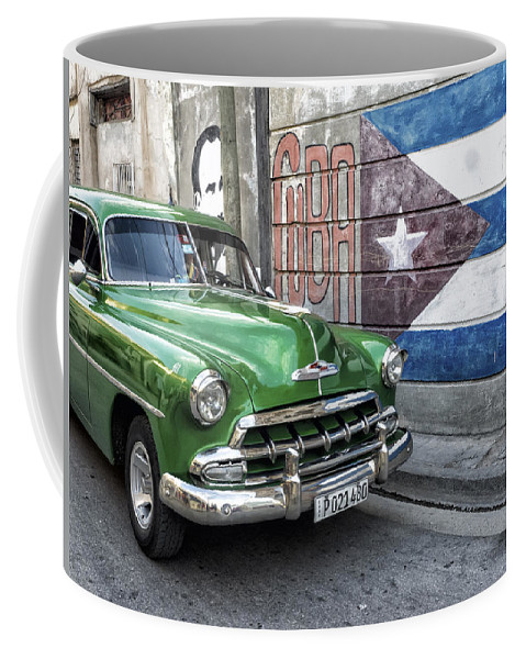 Caribbean Coffee Mug featuring the photograph Antique Car And Mural by Dan Leffel