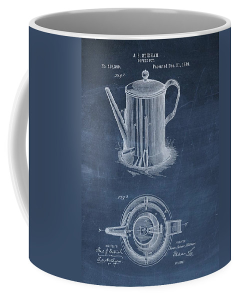 1889 Coffee Pot Patent Coffee Mug featuring the drawing Antique Coffee Pot Patent by Dan Sproul