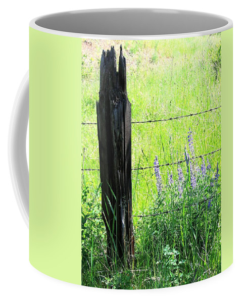 Fence Post Coffee Mug featuring the photograph Antique Fence Post by Will Borden