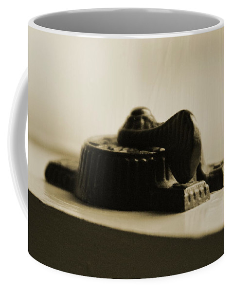 Sepia Tones Coffee Mug featuring the photograph Antique Iron Window Lock In Sepia by Colleen Cornelius