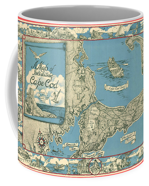 Antique Map Of Cape Cod Coffee Mug featuring the drawing Antique Maps - Old Cartographic Maps - Antique Map Of Cape Cod, Massachusetts, 1945 by Studio Grafiikka