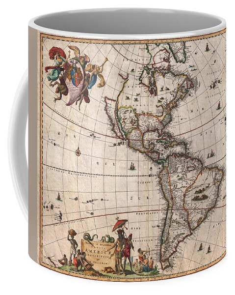 Antique Map Of North America Coffee Mug featuring the drawing Antique Maps - Old Cartographic maps - Antique Map of North and South America, 1658 by Studio Grafiikka