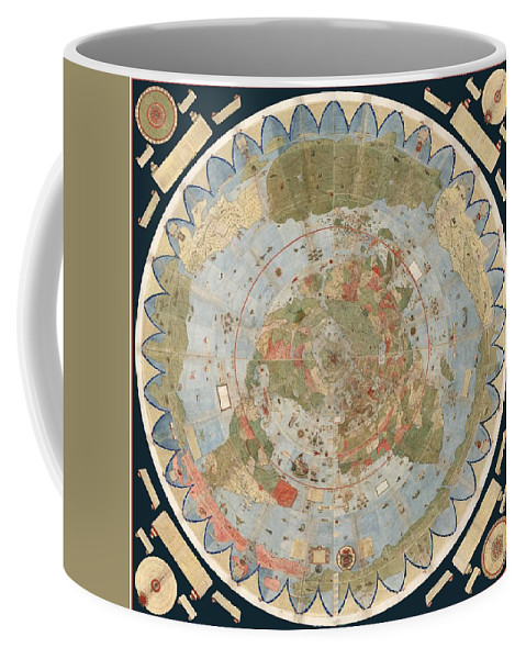 Antique maps old cartographic maps flat earth map map of the flat earth map coffee mug featuring the drawing antique maps old cartographic maps flat gumiabroncs Gallery