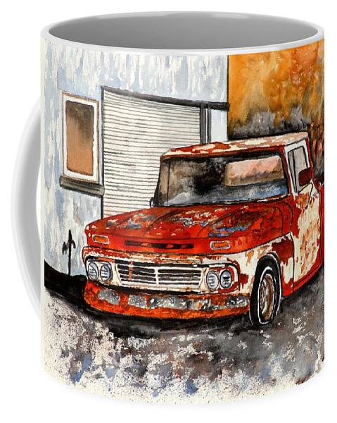 Transportation Coffee Mug featuring the painting Antique Old Truck Painting by Derek Mccrea