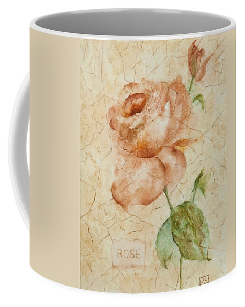Rose Coffee Mug featuring the painting Antique Rose by Debbie Lewis