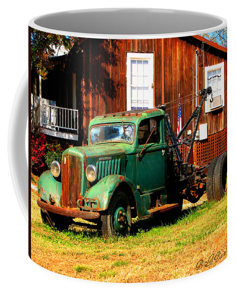Tow Truck Coffee Mug featuring the photograph Antique Tow Truck by Barbara Bowen