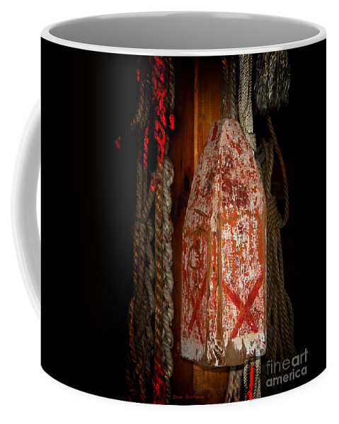 Antique Coffee Mug featuring the photograph Antique Wood Lobster Buoy Red And White by John Stephens