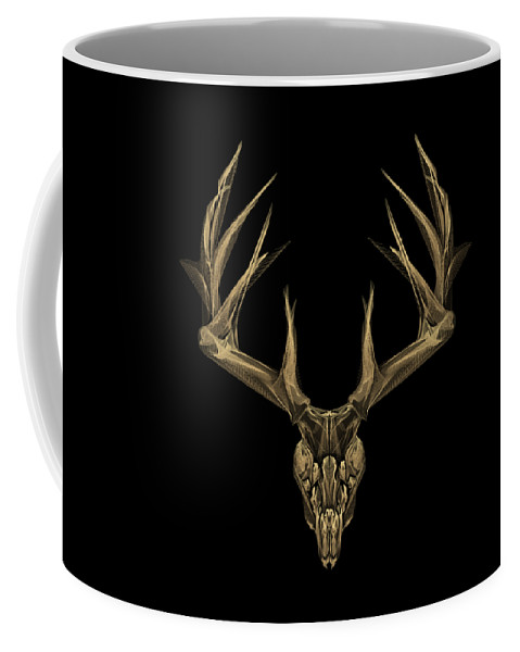 """""""antlered Skulls"""" Collection By Serge Averbukh Coffee Mug featuring the digital art Antlered Skulls - Gold Deer Skull X-ray Over Black Canvas No.1 by Serge Averbukh"""