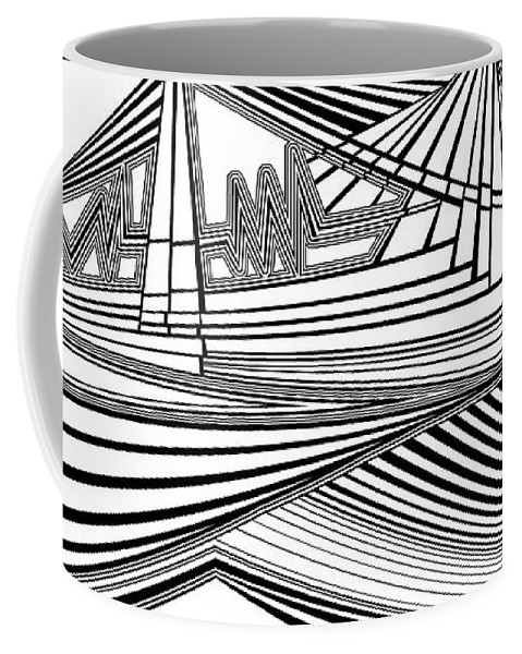 Dynamic Black And White Coffee Mug featuring the painting Apocalyptic Ringside View by Douglas Christian Larsen