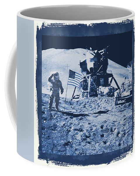 Nasa Coffee Mug featuring the digital art Apollo 15 Mission To The Moon - Nasa by Raphael Terra