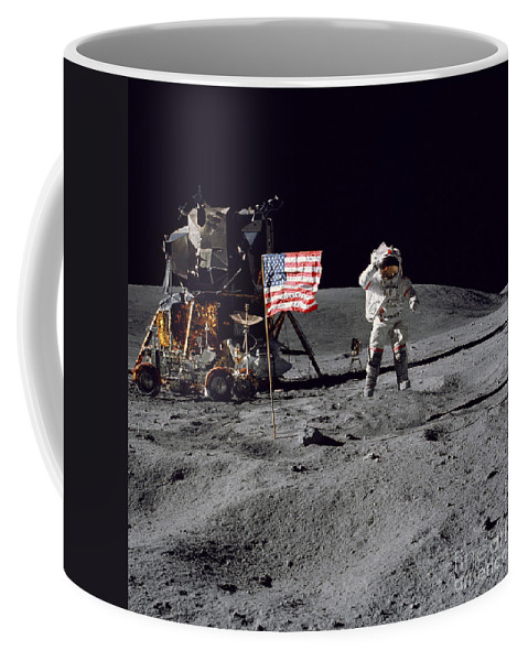 1972 Coffee Mug featuring the photograph Apollo 16 Astronaut Leaps by Stocktrek Images