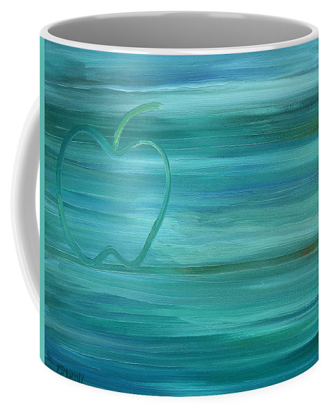Apples Coffee Mug featuring the painting Apple On A Ledge by Patrick J Murphy