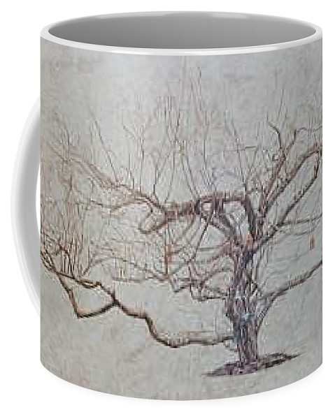 Apple Tree Coffee Mug featuring the painting Apple Tree In Winter by Leah Tomaino