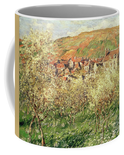 Monet Coffee Mug featuring the painting Apple Trees In Blossom by Claude Monet