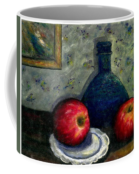 Still Life Coffee Mug featuring the painting Apples And Bottles by Gail Kirtz