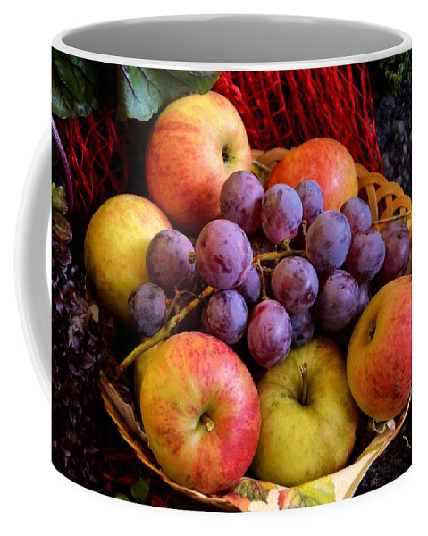Fruit Coffee Mug featuring the photograph Apples And Grapes by FL collection