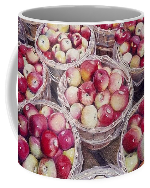 Red Coffee Mug featuring the painting Apples by Constance Drescher