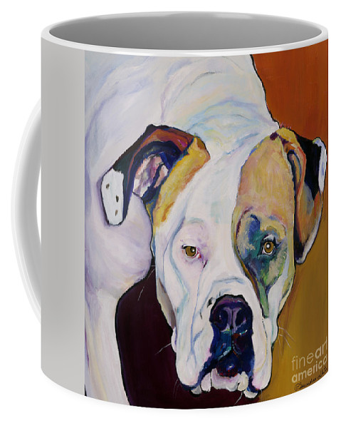 Pet Portraits Coffee Mug featuring the painting Apprehension by Pat Saunders-White