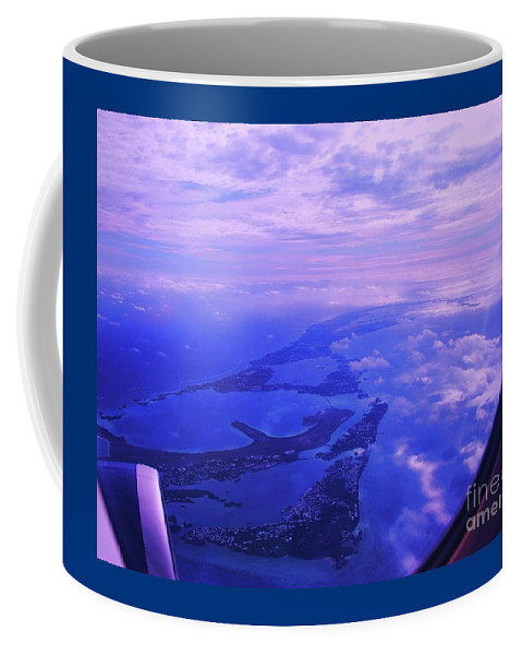 Aerial Art Bermuda Cloud Ocean Outdoors Serene Aviation Travel Destination Island Life Sky Through A Window Airplane Engine Metal Frame Canvas Print Poster Print Available On Pouches Tote Bags Phone Cases Weekender Tote Bags T Shirts Shower Curtains Throw Pillows Mugs Duvet Covers And Mugs Coffee Mug featuring the photograph Approaching Bermuda by Marcus Dagan