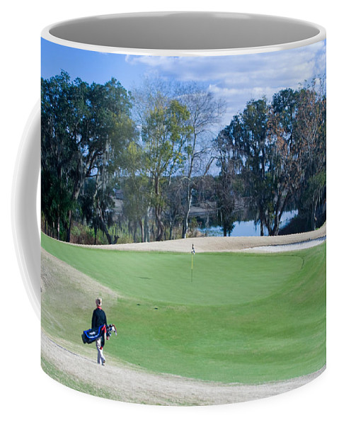 Golf Coffee Mug featuring the photograph Approaching The 18th Green by Thomas Marchessault