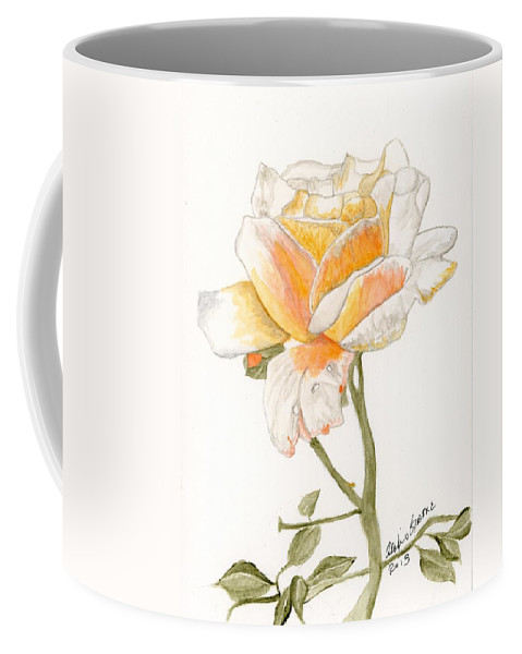 Rose Coffee Mug featuring the painting Apricot Rose by Alexis Grone